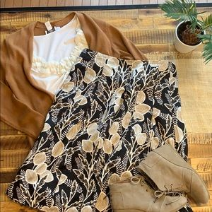 Talbots tan and black floral skirt